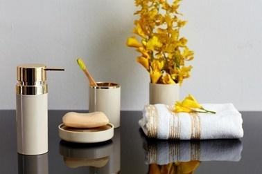Primanova Lenox 5 Parça Banyo Seti Bej Altın Renkli
